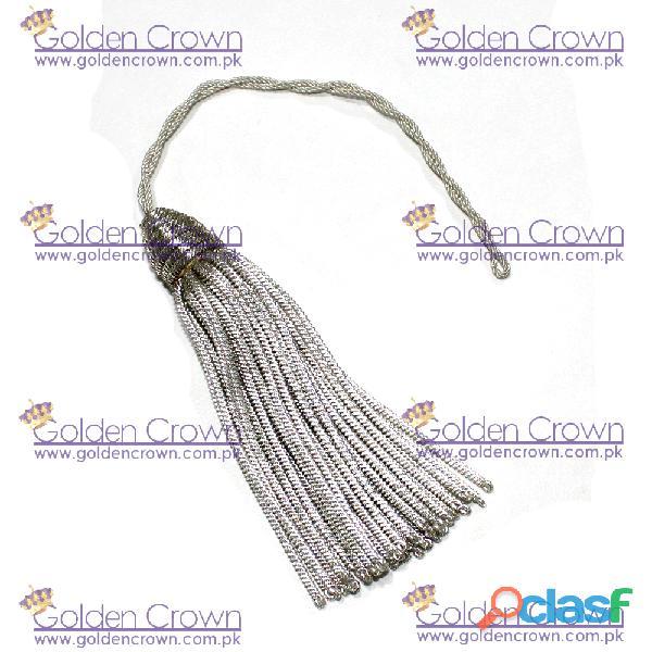 Hot sale silver bullion tassel for uniform silver bullion metallic tassels