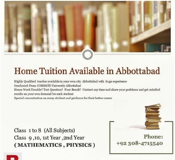 Home tutor available in abbottabad