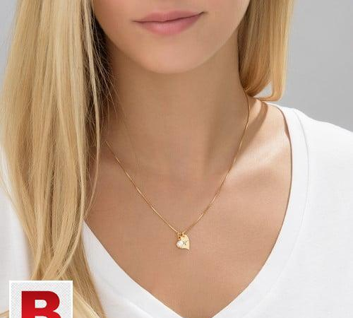 Heart initial necklace with pearl in silver