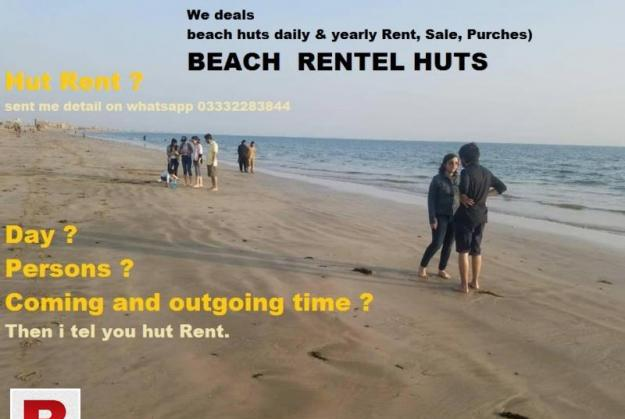 Beach picnic rental huts at sand spit beach karachi.