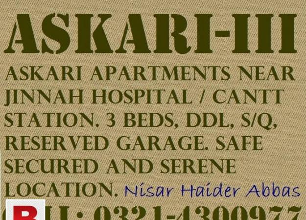 Askari apartment (askari-iii) near cantt station. 3 beds,