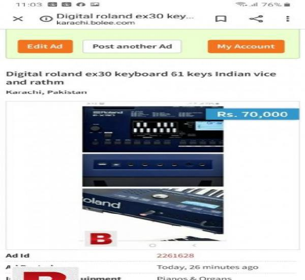 Roland ex30 keyboard professional indian vice tabla