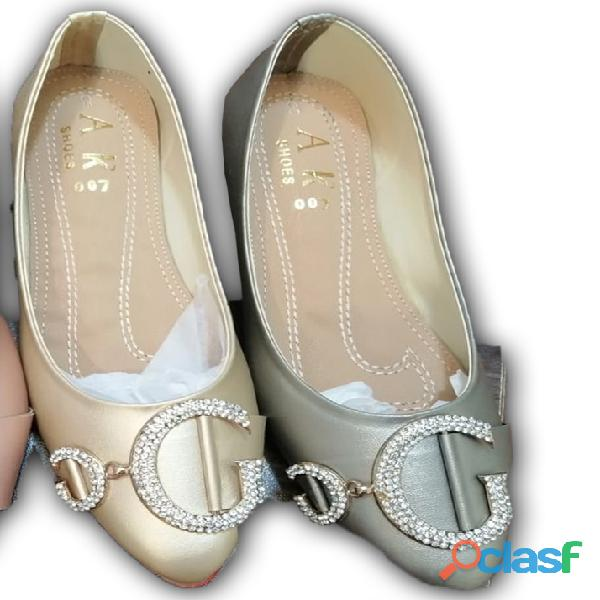 Grey and golden ballet flat formal & casual shoe for women