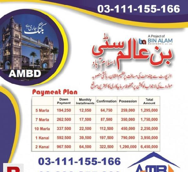 Bin alam city islamabad 5 marla plot for sale by alam