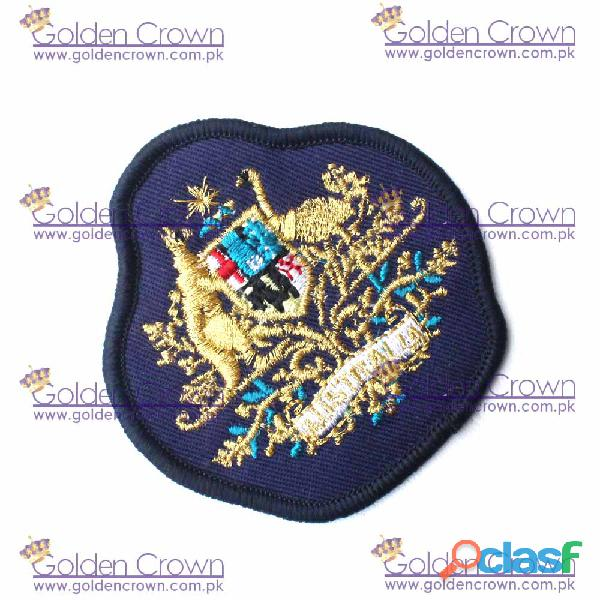 Machine embroidery royal arms rank badge