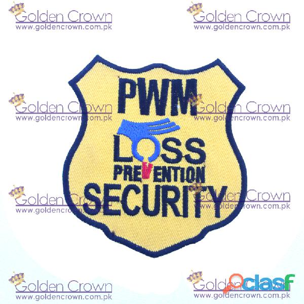 Machine embroidery security badges