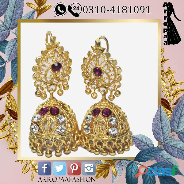 Gold earrings dropped for girls indian style high quality