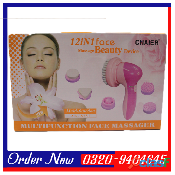 12 In 1 Multifunctional Face Massager   CLeaner  Pink &