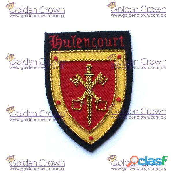 Hand embroidery cross key with sword bullion badge