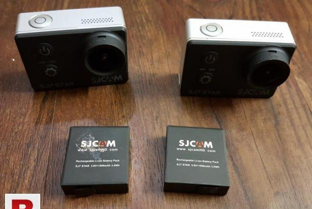 TWO SJCAM SJ7 STAR WIFI 4K ACTION CAMERA WITH ALL ACCESSORIE