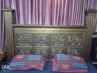 Heavy wooden bed with dressing & side tables solid chinioti