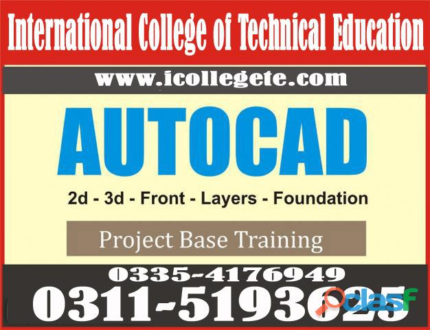 AUTOCad 2d&3d course in Rawalpindi Islamabad Taxila GUjrat & in all cities