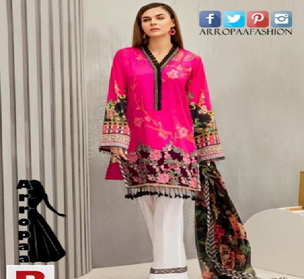 New 3pcs iznik fuchsia rose linen cloth unstitched for girls