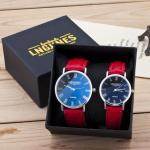 Couple watches pair men, women gloss glass leather fashion