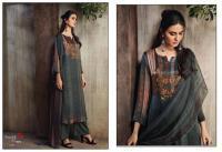 Elegant pure satin silk designer ganga oriental poppy suits