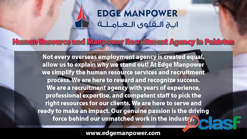 Human resource and manpower recruitment agency in pakistan