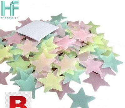 Pack of 100 – fluorescent night glowing stars wall sticker