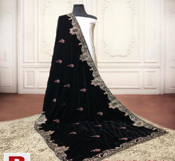 Velvet shawl embroidered and sequence original