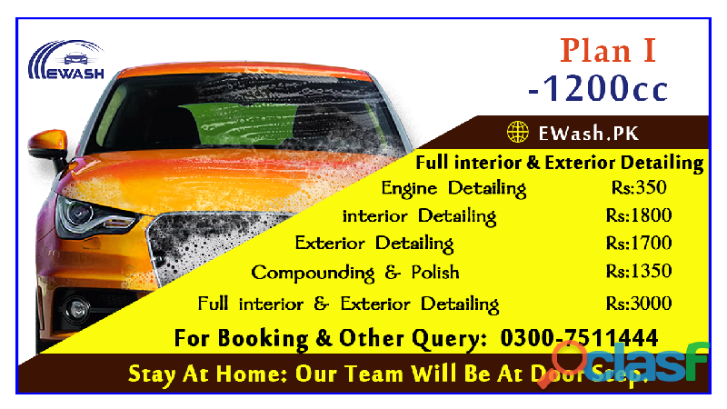 ewash provide exterior & interior car wash service in islamabad & Rawalpindi