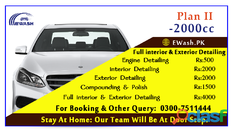 ewash provide exterior & interior car wash service in islamabad & Rawalpindi 1