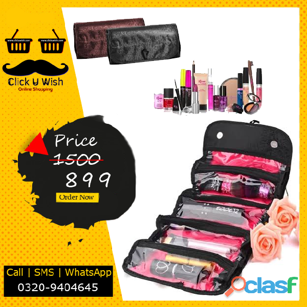Roll n go makeup organizer & cosmetic bag   black