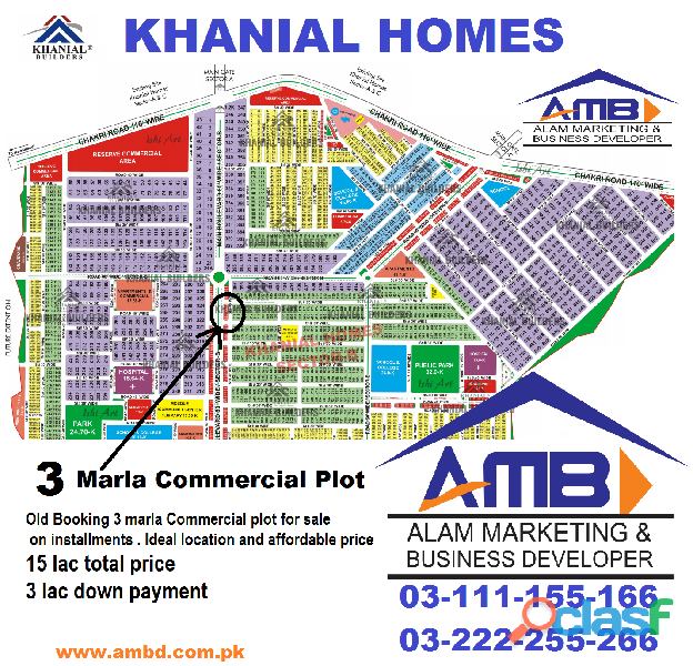 hanial Homes 3 marla Commercial plot for sale on installments