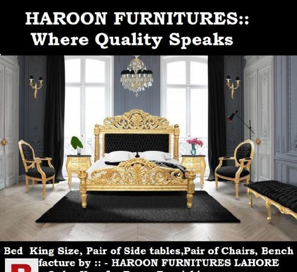 Best durable wooden king size bed set by haroon furnitures