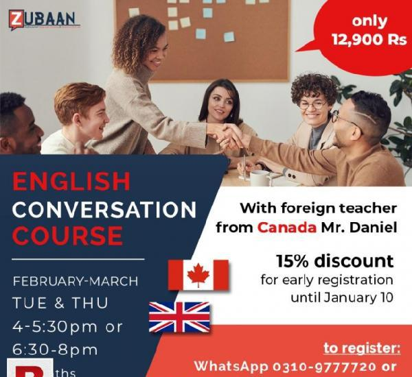 English conversation course with canadian teacher