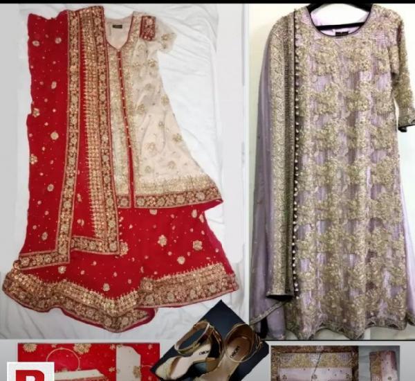 Branded bridal two dresses for shadi n valima,bridal shoe