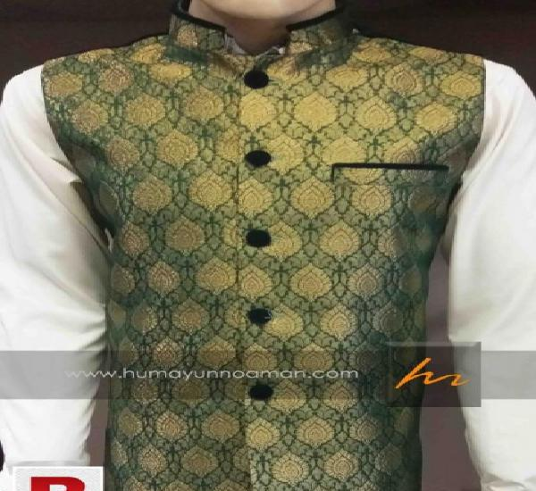 Green and golden atlus fabric waistcoat