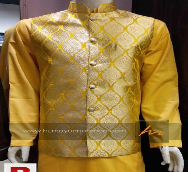 Yellow and golden atlus fabric waistcoat