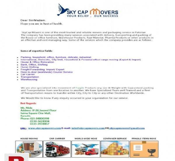 Skycap movers and packers in karachi