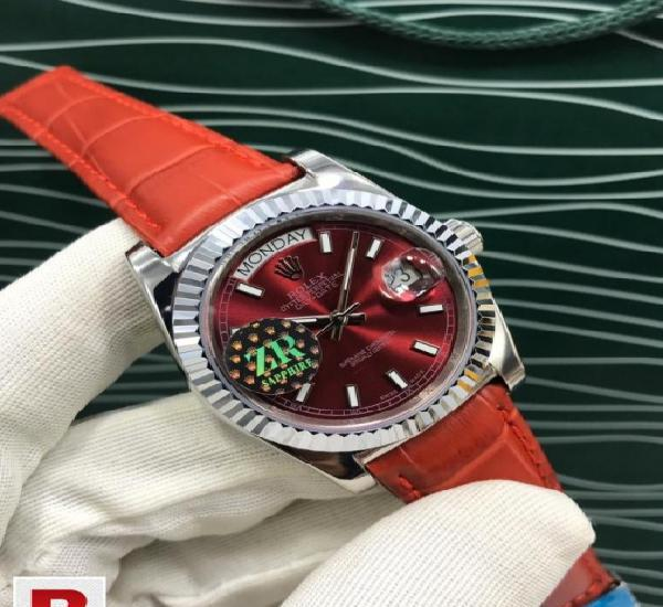 Rolex day-date red dial men's watch