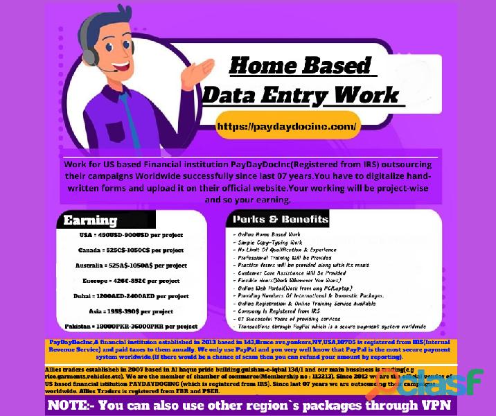 Online data entry operator