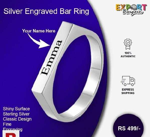 Silver engraved bar ring
