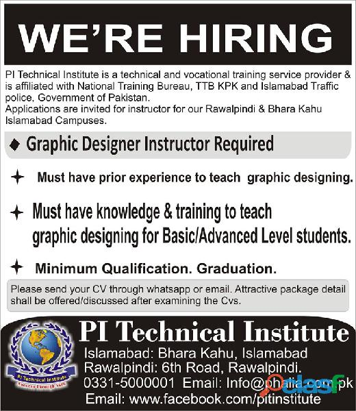 graphic designing instructor required