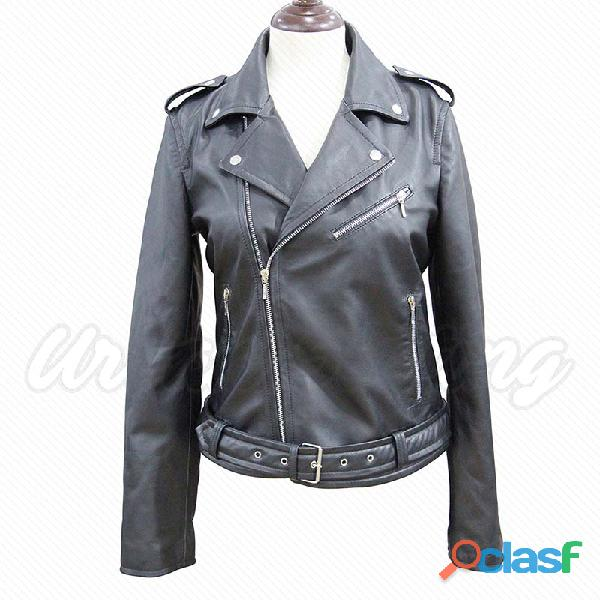 Leather biker fashion jackets for ladies fur jackets