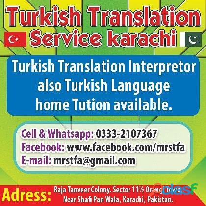 Turkish translator interpreter Turkish language Karachi tercümanlık hizmetleri karaçi Pakistan 1