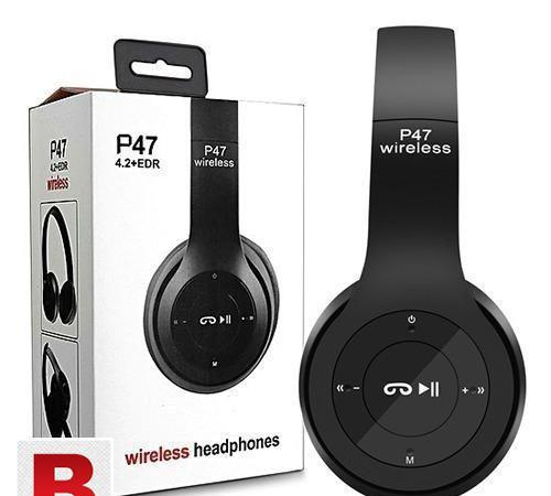 P47 wireless headphone black & red color