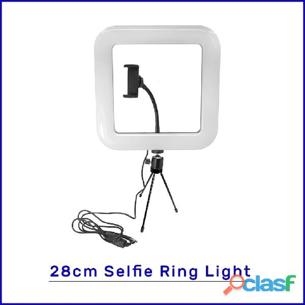 28cm square selfie ring light with tripod stand & cell phone holder for live stream circle light