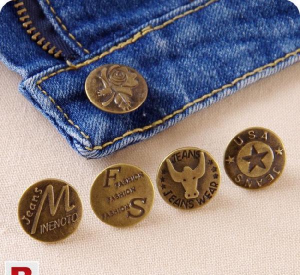 Engraving Metal Jeans Rivets Button