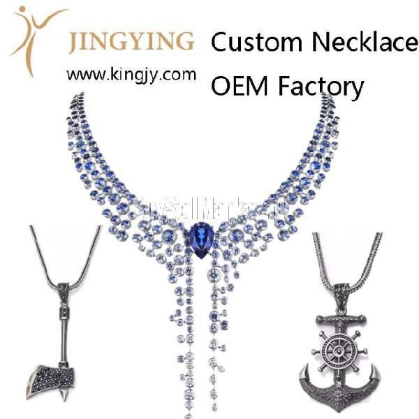 Custom necklace gold plated silver jewelry supplier and whol