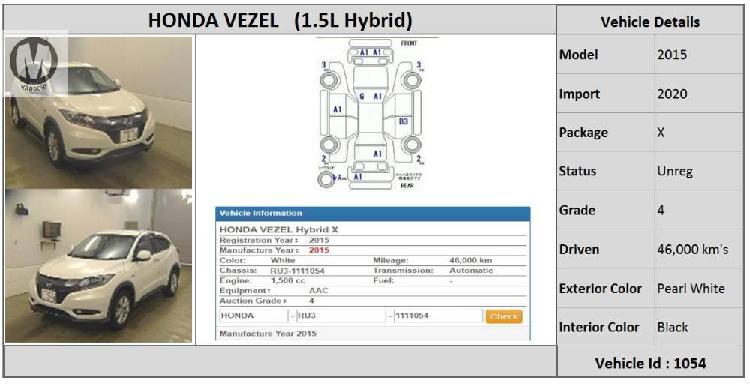 Honda vezel hybrid x 2015