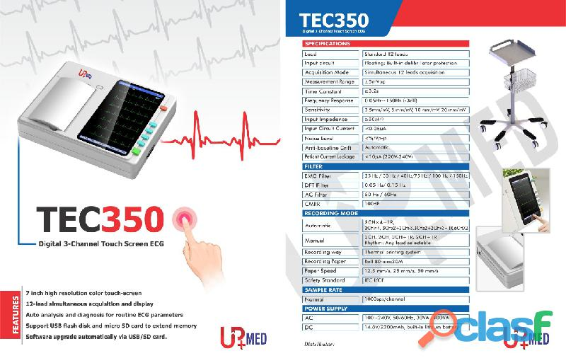 Ecg machine touch secreen display
