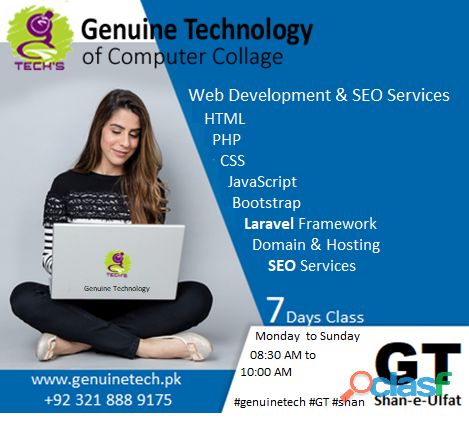 Website development diploma short course in lahore by shan ulfat