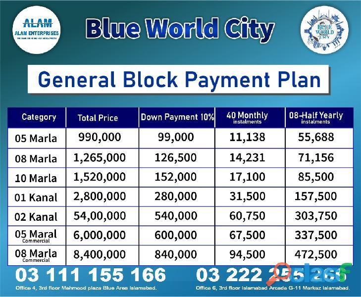 Blue world city islamabad 5 marla plot for sale on installments