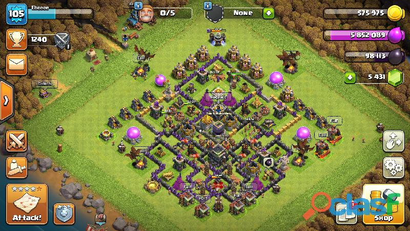 Clash of clan townhall 9 maxx level 105