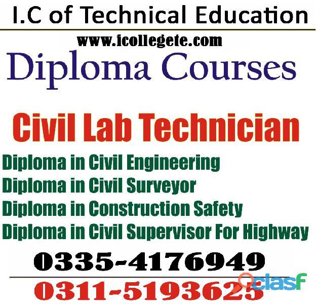 Diploma in civil lab technician course in lahore multan