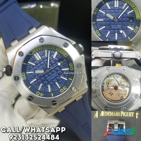 Audemars piguet royal oak blue dial watch