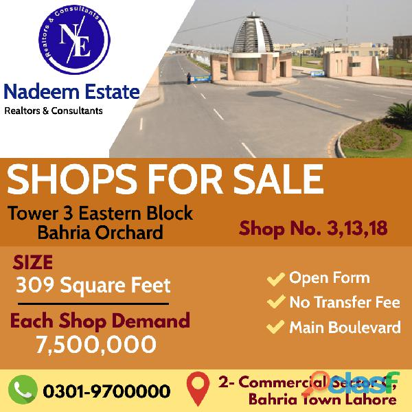 Shops for sale in bahria orchard lahore